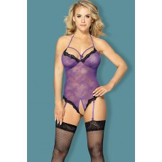 Sunspice 16 Purple open crotch 2 pcs lace teddy with garter & matching stocking o/s