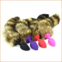 Fox Tail with Geisha Ball Silicone Butt Plug - Small