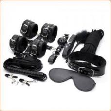 Black Fur Lined Body Restraints Kit - 12 Pcs