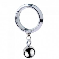 ButtStuffer - Surgical Steel Cock Ring with One Weight Ball - 45mm