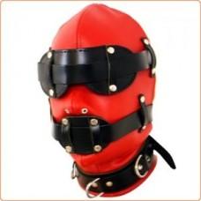 Red Locking Bondage Hood with Locking Blindfold and Locking Gag
