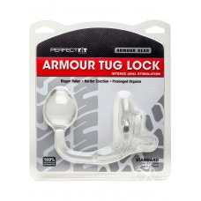 Perfect Fit Armour Gear Armour Tug Lock Cockring With Anal Stimulation Clear Medium