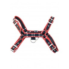 Leather Front Harness Black And Red (Large-X Large)