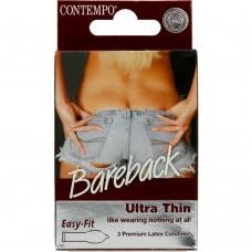 Contempo Bareback Premium Latex Condoms Ultra Thin 3 Pack