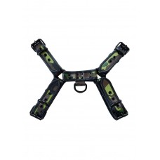 Leather Front Harness Camouflage With Black Piping And Black Buttons (Large-X large)