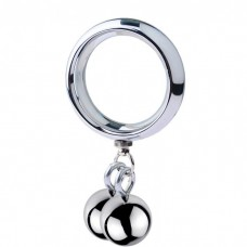 ButtStuffer - Surgical Steel Cock Ring with Two Weight Ball - 45mm