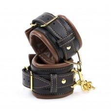 Bondage Thick Wrist Cuffs  - Golden Chain