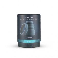 Boners 6-Piece Silicone Cock Ring Set - Grey