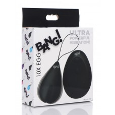 Bang - 10X Rechargeable Silicone Vibrating Egg With Remote Control - Black