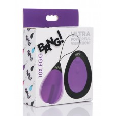 Bang - 10X Rechargeable Silicone Vibrating Egg With Remote Control - Purple