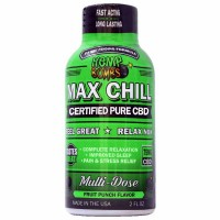 Cannabis Bombs Max Chill Pure Organic CBD Shot 75 Milligrams Potency Fruit Punch 2 Ounce Bottle