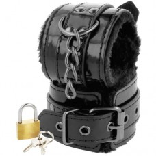 Black Handcuffs with Fur & Padlock
