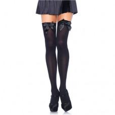 Leg Avenue - Black Nylon Thigh Highs with Black Bow - One Size