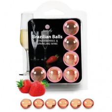 Brazilian Massage Oil Balls Set of 6 - Strawberry & Sparkling Wine