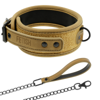 Fetish Submissive Genuine Vegan Leather Collar With Leash