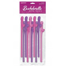 Bachelorette Party Favors Dicky Sipping Straws Pink/Purple 10pc.