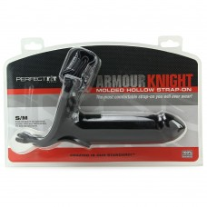 Armour Knight Molded Black Hollow Strap-On in S/M